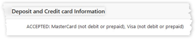 Deposit and credit card information
